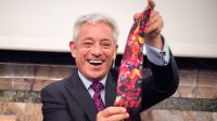 John Bercow is given a Tinguely tie following his lecture at UZH.