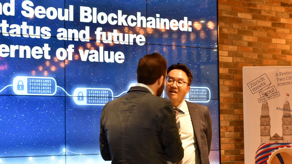 <p>A core topic that links both cities is the development of blockchain technologies. Seoul, like Zurich, is one of the biggest international blockchain hubs. Claudio Tessone, Director of the UZH Blockchain Center in conversation with Professor Sooyong Park of Sogang University. (Picture: Priska Feichter)</p><p>&nbsp;</p>