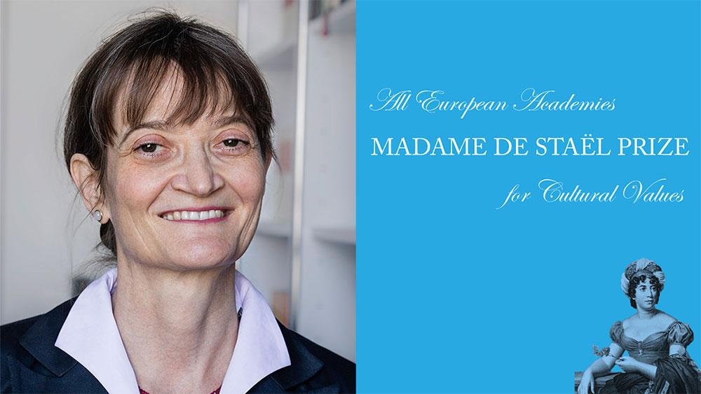 Porträt der Preisträgerin, neben einem Bild der Namensgeberin des Preises
