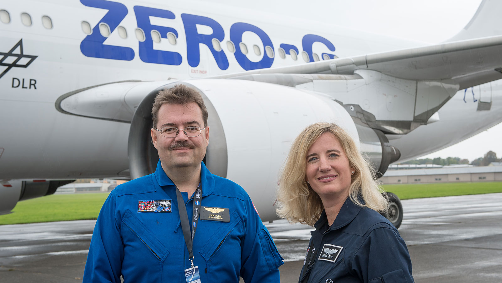 <p>UZH professor Oliver Ullrich, director of the Space Hub, and Natalie Dove (Dovespace/Nussbaumer Reisen) organize the Swiss Parabolic Flights. (Picture: Regina Sablotny, UZH</p>