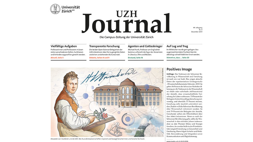 Neues Journalcover mit Illustration von Alexander von Humboldt.