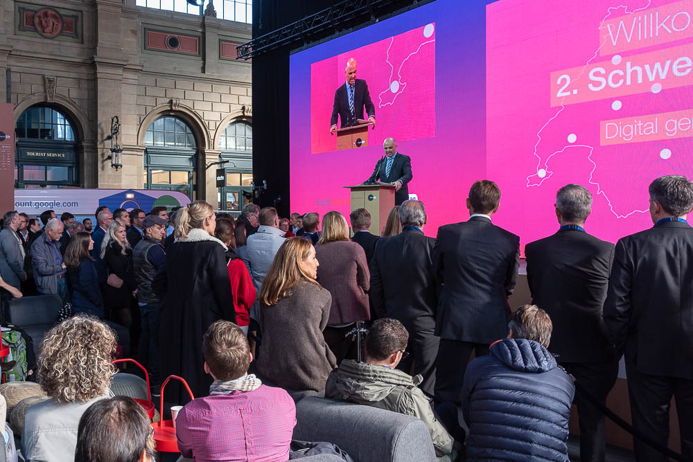 <p>President of the Confederation Alain Berset's speech kicked off Digital Day. </p> (Image: Thomas Poppenwimmer)