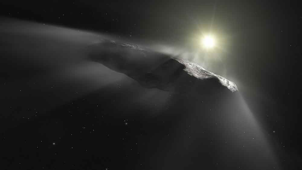 Artist's impression of the interstellar asteroid Oumuamua