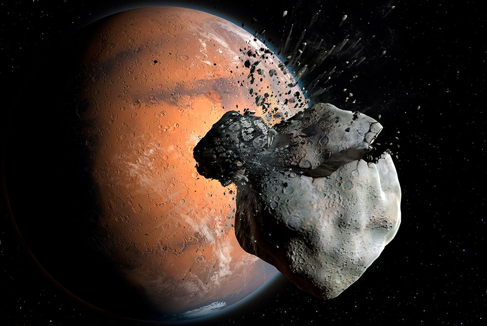 Artist's rendering of the collision between a Martian primordial moon and an asteroid, which could have led to the formation of Phobos and Deimos.
